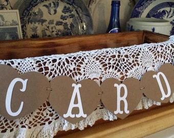Mini Wedding Cards Banner, Heart Mini Cards Banner, Rustic Cards Banner, Kraft Rustic Wedding Mini Banner