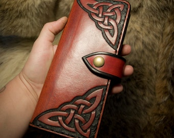 Leather Long Wallet - Celtic Knotwork