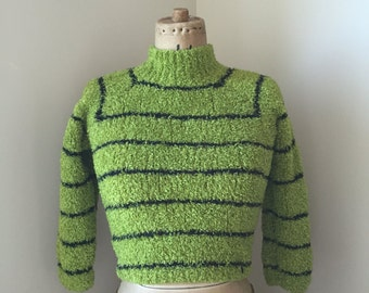 Fuzzy green striped 90s rave kid cropped sweater
