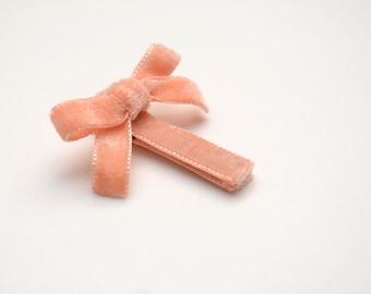 Peach Velvet Ribbon Hair Clip - Baby Peach Hair Clip with Bow Detail