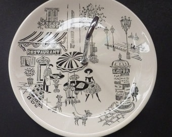 Vintage 1950's Alfred Meakin Parisienne Design Cake Plate: 10 inches diameter