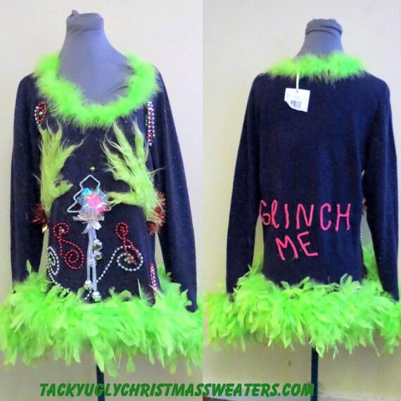 Cute flirty grinch me tacky ugly christmas sweater foofoo feather boa
