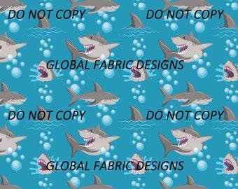 Sharks on cotton lycra jersey knit fabric - UK seller