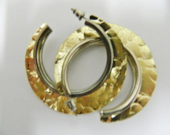 Vintage hammered gold and silver plated hoop earrings
