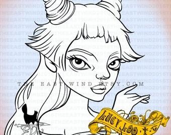 Digital Stamp- Lucy Loo 'Torn dress' - 300dpi JPEG/ PNG - MAC0262
