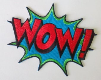 "Embroidered Wow Iron on Patch Badge (4"" x 3 1/8"")"