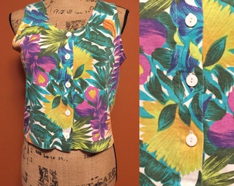 FLASH SALE!!Tropical Button Up Tank Top Vacation Fashion Palm Tree Hawaii Floral Print Summer Fashion
