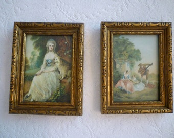 VINTAGE FRAMED FRENCH Scenes. A Pair of Framed Prints. Antique 1930's Old French. English Country Scenes Prints