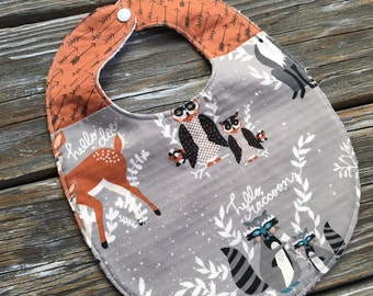 Bib ~ Two Toned/Quilted ~ Woodland//Arrow//Tribal//Native//Buck//Forest//Bear//Forest