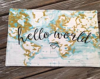 Burp Cloth ~ Boho//Traveller//Globe//Map//Hello World
