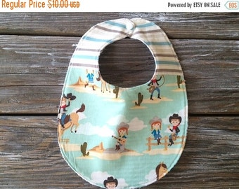 SALE Chenille Two Toned/Quilted Bib ~ Giddy Up! ~ Cowboy/Cowgirl/Horses/Saddle/Stripes
