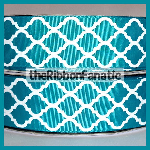 5 Yds 1 5 Quot Teal And White Quatrefoil Modern Moroccan Tile