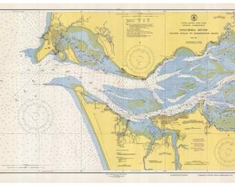 Columbia River - Pacific Ocean to Harrington Point 1948  Nautical Map, Oregon-Washington PC Harbors Reprint 6151