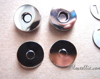 Magnetic Snaps Bag Purse Fastener Silver Nickel colour 18mm or 14mm size Regular Style - pack of 2 - Bag Making Supplies