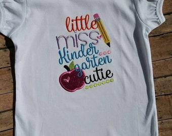 Girl's ruffled Little Miss Kindergarten Cutie shirt