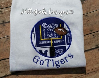 """University of Memphis """"Go Tigers"""" football appliquéd shirt with embroidered name"""