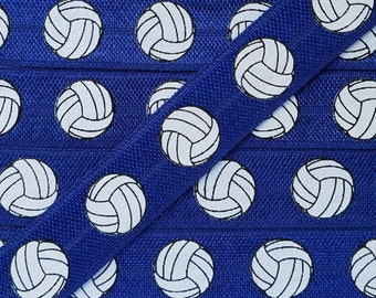 5/8 NAVY with VOLLEYBALL Fold Over Elastic