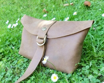 Leather Clutch Leather bag Purse Distressed Brown