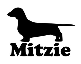 """Dachshund Dog Vinyl Decal Sticker with Custom Personalized Name 3.5"""" x 5"""" *Free Shipping*"""