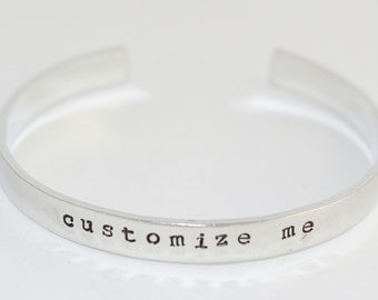 SALE - Customize Me Hand Stamped Double Sided Cuff Bracelet - Adjustable Aluminum Bracelet - Personalized Bracelet - Great Gift for Mom