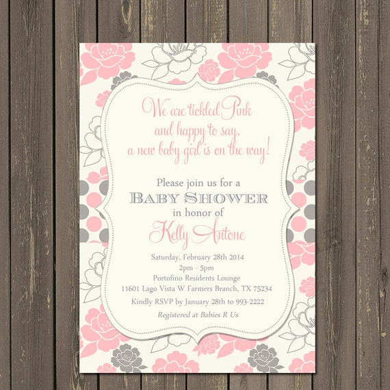 Pink and Grey Baby Shower Invitation, Tickled Pink Invite, Girl Baby Shower, Pink and Grey Floral, Polka Baby Shower, Printable