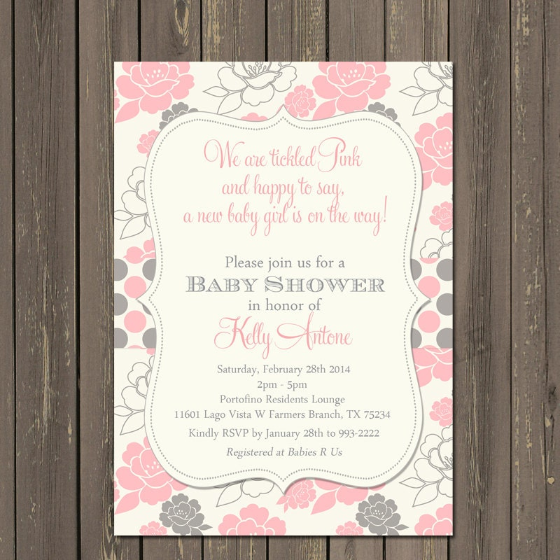 pink and grey baby shower invitation tickled pink invite