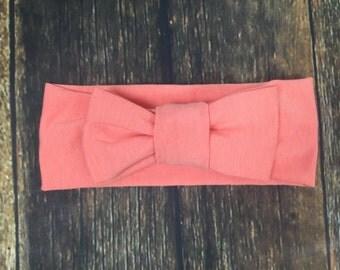 Coral bow turban headband