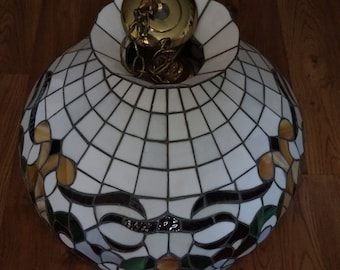 Vintage, Tiffany Style Stained Glass Light Fixture