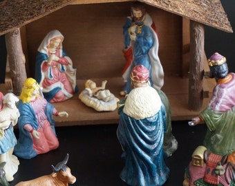 Vintage, Nativity Set with Creche