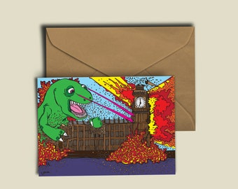 Dinosaur Trashes Parliament. He's had enough. Tip-top quality A6 300GSM Birthday Greeting Card. Blank inside for your own witty ditty.