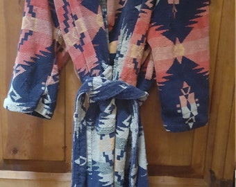 Distressed Terry Navajo Print Robe One Size Made In Brazil Sold As Is