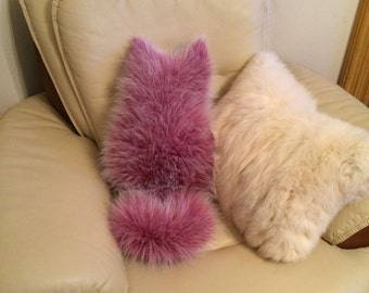 Frosted Berry Faux Fox Fur Cat Pillows