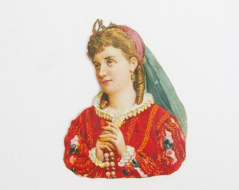 Victorian Girl with Necklace Original 1876 Die Cut Sticker Victorian Scrapbook Paper Ephemera Antique Victoriana Memorabilia Paper Ephemera