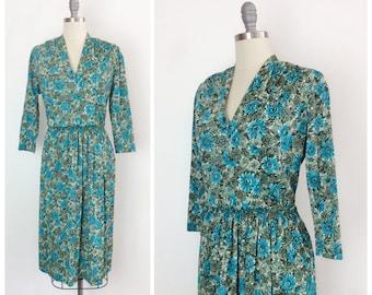 70s Blue Floral Elastic Waist Band Dress - 1970s Vintage Green Day Dress - Large - Size 10