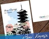Japan Travel Greeting Card, Bon Voyage to Japan, 5x7 card blank inside with white envelope.