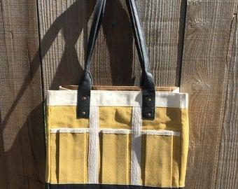 Garden Bag, Garden Tool Bag, Leather and Canvas Bag, Women's Tool Bag