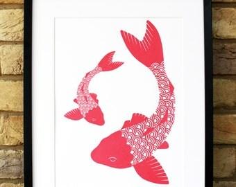 Koi carp illustration, limited edition koi carp print, hand pulled screenprint, coral coloured fish print