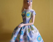 """vintage dress with bag PDF Pattern with instruction Download for Silkstone barbie Dolls and more 12"""" dolls"""