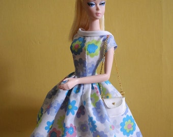 "vintage dress with bag PDF Pattern with instruction Download for Silkstone barbie Dolls and more 12"" dolls"