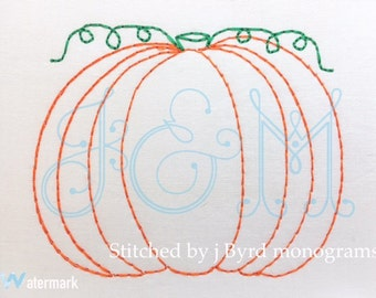 Vintage Bean Stitch Pumpkin Machine Embroidery Design - Fall Halloween Thanksgiving
