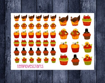 Thanksgiving cupcakes (updated) sticker sheet for your planner