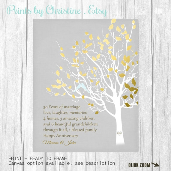 Golden Wedding Anniversary Gift Ideas For Parents: Golden Anniversary Family Tree Print By PrintsbyChristine