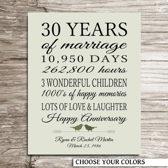 30 Year Wedding Anniversary Gift Ideas For Parents : 30th Anniversary Gift 30 Years of Marriage Gift for Parents ...