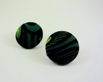 Dark Green Abstract Pattern Fabric Button Earrings