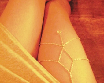 Xena Thigh Chain (Leg Jewelry) / Body Jewelry. Silver or Gold  - Summer Jewelry - Swimsuit Jewelry - Leg Chain