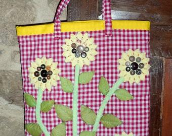 Stunning 100% hand-sewn sunflower cotton tote bag.