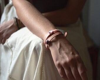 Serenade . Peach echo leather wrap bracelet / boho / for her