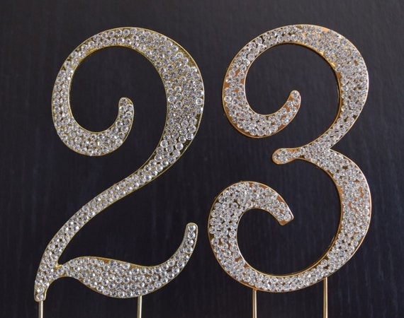 Rhinestone Gold Number 23 Cake Topper 23rd Birthday Party