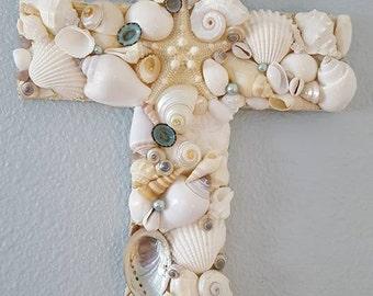 Seashell Cross - Beach Wedding Cross - Beach Decor - Coastal Decor - Nautical Decor