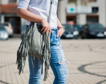 Gray leather bag with fringe